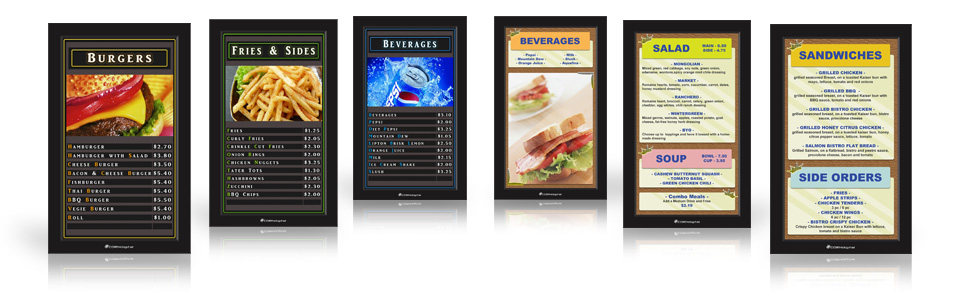 corndigital digital menu board templates